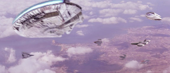 In this piece composed by Scott, the Millennium Falcon arrives in the lavender skies above the Hutt city of Ophuchi on Nal Hutta.