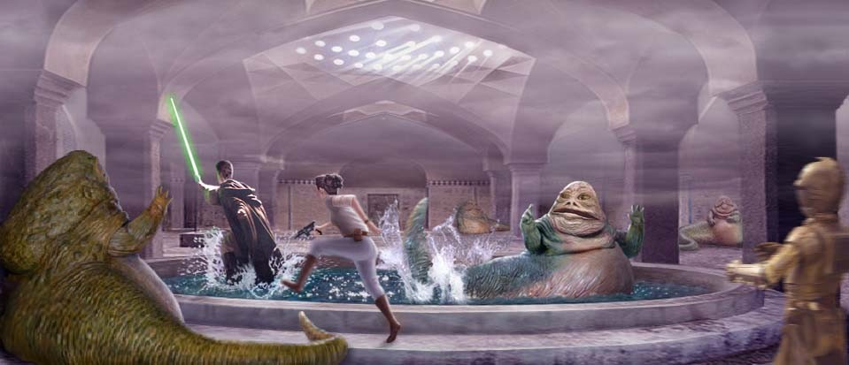 A superb pic by Scott of Luke, Leia, and 3PO rushing through the Hutt bathhouse to the chagrin of its patrons !