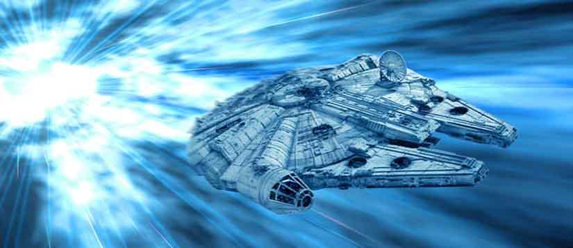Captain Han Solo's starship 'The Millennium Falcon' races through hyperspace. Artwork by Scott.