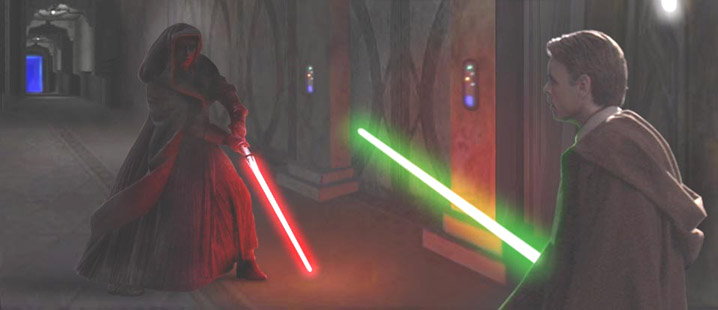 In this superb image by Scott, Jedi and Sith face off deep inside the Imperial Palace.