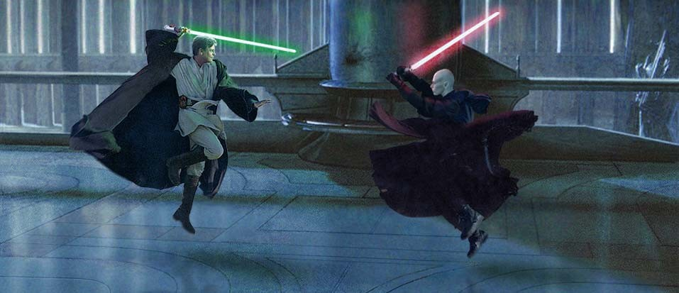 A superbly dynamic shot of Luke duelling Darth Kayos in the Imperial Palace on Coruscant. Artwork created by Scott.