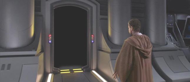 Luke steps cautiously up to a dark doorway. Artwork by Scott.