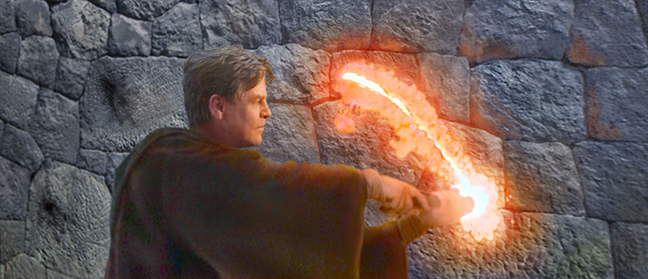 Master Luke Skywalker uses his lightsabre to cut into a stone tower. Artwork by Scott.