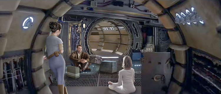 In this great picture by Scott unveiling a new cargo hold inside the Falcon, Luke tests Alana for the Force.