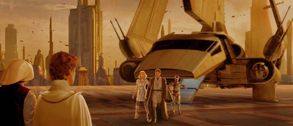 Disembarking from a lambda shuttle, Luke, Alana and Threepio are greeted by Mon Mothma. Artwork by Scott.