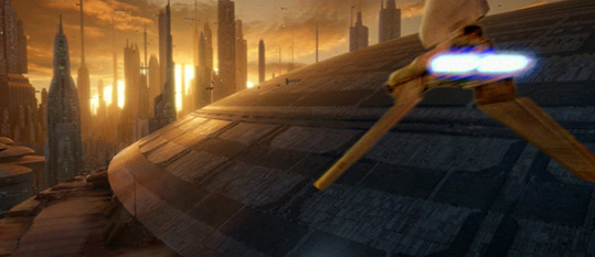 In this superb illustration by Scott, the shuttle sails in to land at the old Imperial Senate.