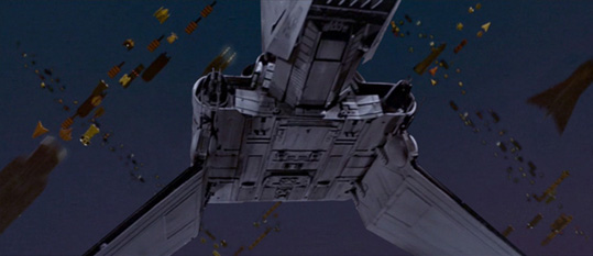 Scott depicts a shuttle arriving on Coruscant.