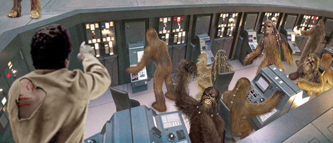 General Lando Calrissian frantically orders the Wookiees to turn the Star Destroyer about ! Artwork by Scott.