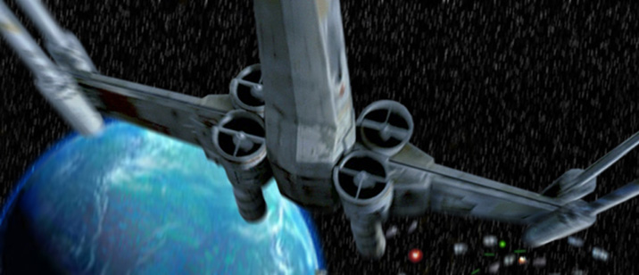 The X-Wing loops up and back towards Mon Calamar, artwork by Scott.