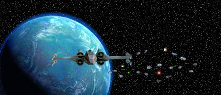 Great artwork by Scott shows Luke's X-Wing arriving in the Mon Cal system !