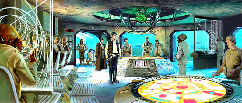 Han, Leia, Luke, and the droids learn some disturbing news on the Mon Cal coral island Aquilae. Artwork by Scott.