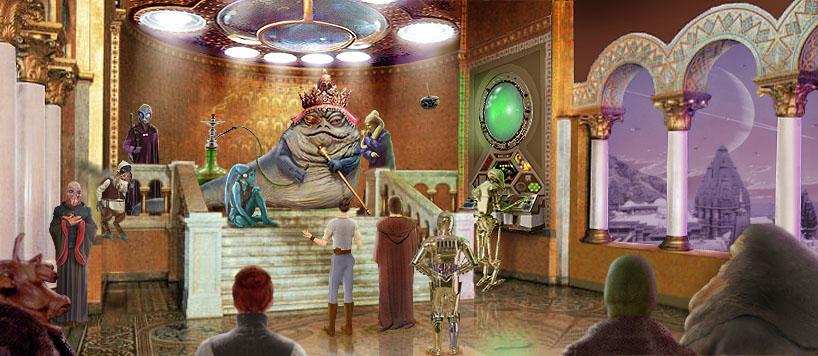 Artwork by Scott : Barrola the Great's throneroom, version 2, including Watto and 3PO.