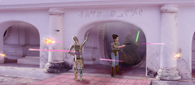 Artwork by Scott : Leia fends off their pursuers as 3PO anxiously translates the Huttese.