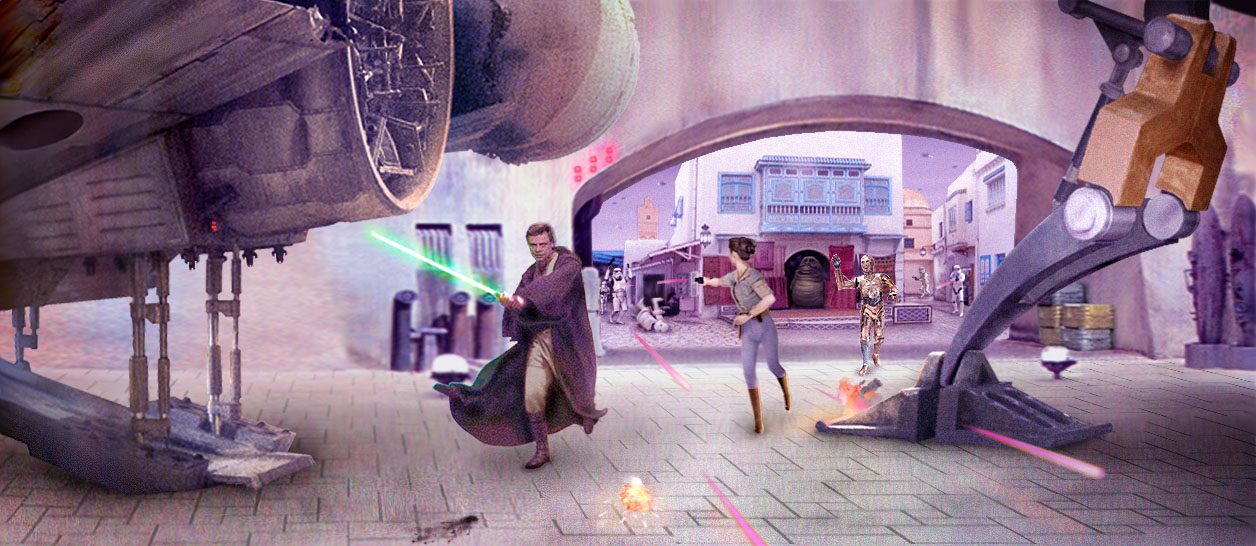 Artwork by Scott : Luke, Leia, and 3PO race back to the Millennium Falcon that sits in a Nal Hutta docking hangar.