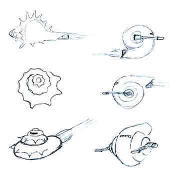 Artwork by Scott : Hutt starship, concept sketches.