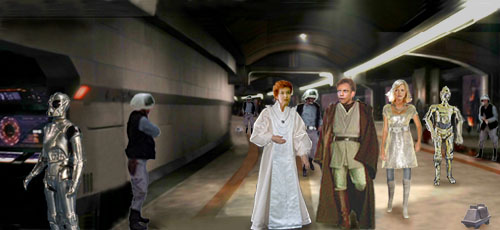 In this artwork by Nat, Luke and Mon Mothma, with Alana and Threepio following, discuss the latest turn of events.
