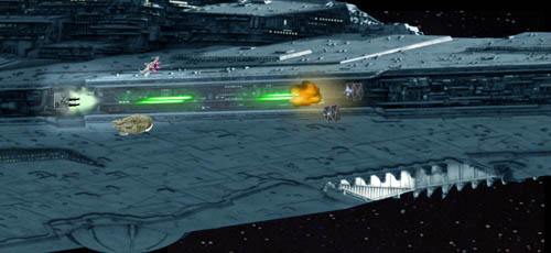 The Falcon and the X-Wing peel away towards their targets, and the lateral quad canon opens fire, hitting one of the pursuingTIE fighters !