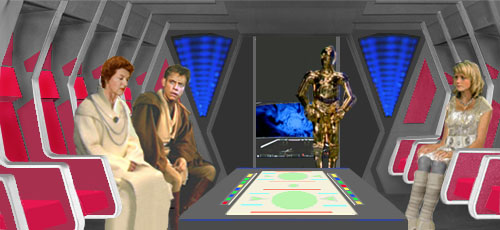 Luke and Mon Mothma discuss the puzzling return of the Sith, whilst Alana listens. Artwork by Nat & Scott.