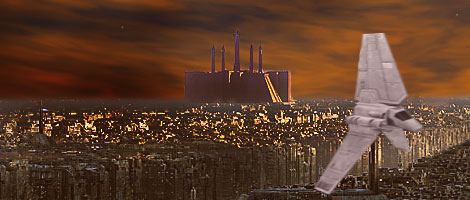 In this great picture by Nat, a lambda shuttle skims over Coruscant's cityscape, bathed in a golden sunset and dominated by the Imperial Palace.