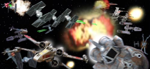 Leia and Wedge race through the enemy attack runs !
