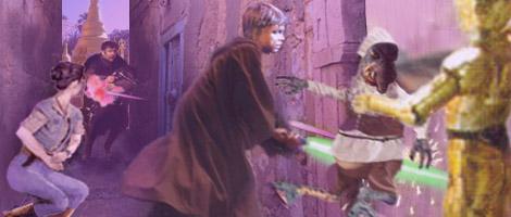 Master Jedi Luke Skywalker saves Watto's life, artwork by Nat
