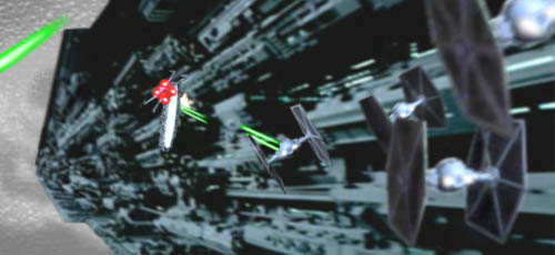 Four Imperial TIE fighters drop in behind them !