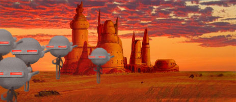 Imperial gas droids advance upon the Ondos city of Ton-Mumdo.