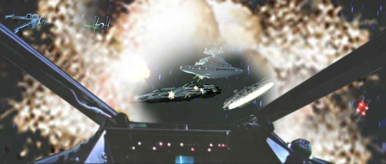 Wedge hails the Millennium Falcon and reviews the battle with Han.