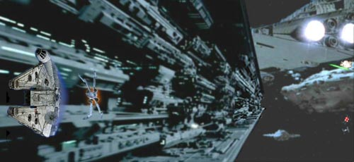 Han leads Wedge down the side wall of the Star Destroyer.
