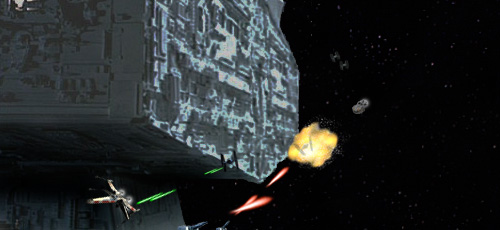 Wedge deftly leads two of the TIE fighters across the Star Destroyer's canon fire !