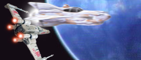 Leia races ahead in her Mon Cal starfighter.